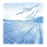 L'avion Solar Impulse, aux ailes recouvertes de panneaux solaires, volant au-dessus d'une « ferme solaire ».