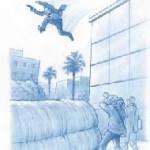 POURÉVITERLESDOMMAGEScorporelslors d'une chute, la décélération à l'impact ne doit pas dépasser une dizaine de fois l'accélération g de la pesanteur. On en déduit que la distance sur laquelle l'immobilisation se produit, donc l'épais- seur du matelas de réception, doit être au moins égale au dixième de la hauteur de chute. Dessin : B. Vacaro