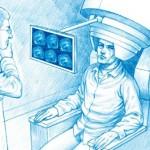 La magnétoencéphalographie permet de suivre en temps réel l'activité du cerveau grâce à la mesure des minuscules champs magnétiques produits par les circuits neuronaux. La tête du patient est recouverte d'un casque tapissé de centaines de capteurs à base de SQUID, des circuits supraconducteurs. Ces circuits, très sensibles au champ magnétique, doivent être refroidis à très basse température, condition indispensable à la supraconduction. (Dessin : Bruno Vacaro)